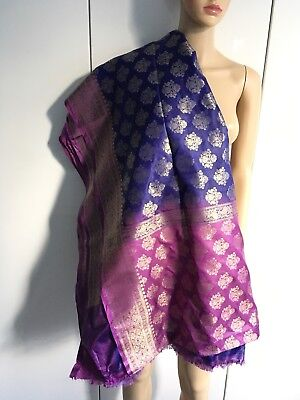 Silk Sari In Royal Blue-Purple, Violet And Gold