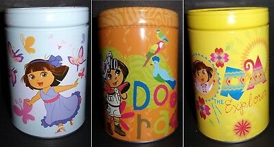 """Lot of 3 Dora the Explorer Coin Money Banks Tin 6"""" tall discontinued party favor"""