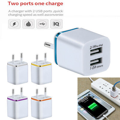 5V / 2A Dual USB Charger Fast Charging for iPhone XS Max Wall Adapter EU Plug