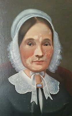 Antique 19th century era woman black bonnet lace & pin  PORTRAIT oil PAINTING
