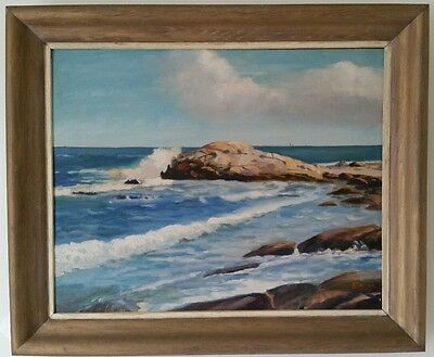 Vintage Seascape Oil on Board 1956 Ocean Scene Signed Coman Atlantic Painting