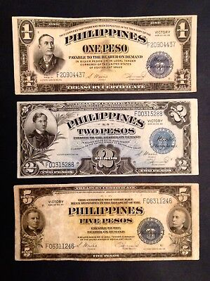 -1944 US Philippines One 1, 2  & 5 Pesos WW II Victory Notes P 94,  P 95 &  P 96