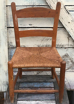 Vintage Little Child's Chair with Tightly Woven Seat - Children's Wooden Seating