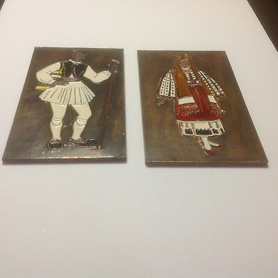 Vintage Greek Cloisonne Copper Art Enamel Wall Hangings Set Of 2 Nisyros Arahova
