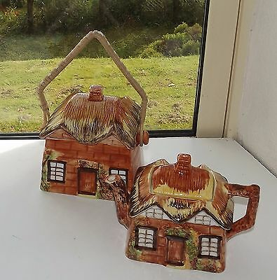Price Kensington Pottery Cottage Ware Teapot and Biscuit Barrel c1960s