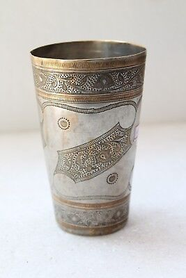 Old Vintage Rare Brass Lassi Mughal Glass Home Decor Collectible NH4286