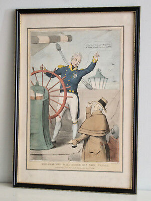 Antique c19th Hand Coloured Wellington Etching, 1830, '...Wot Will Steer...'
