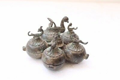 Antique Old Brass Rare 5 Compartment Peacock Engraved Tikka Powder Box NH3942