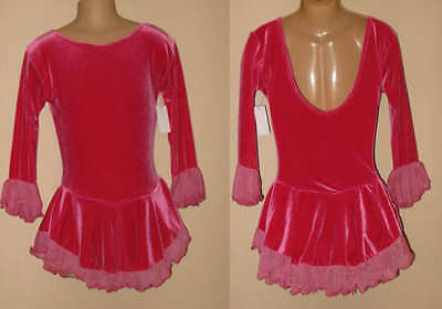 8y CHILD Ice Roller Skating Dress Pink Velvet Dance Majorette Costume Leotard