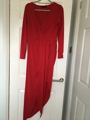 ROCHELLE HUMES PRINTED LONG SLEEVED MAXI DRESS SIZE 14
