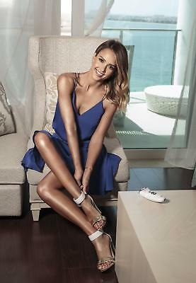GLOSSY PHOTO PICTURE 8x10 Jessica Alba Beautiful Woman In Blue Dress