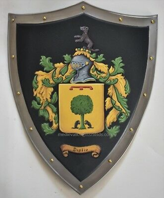 Custom Coat of Arms shield, 18 x 14.5 inch medieval metal knight shield