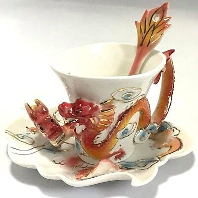 New Ceramic Porcelain Red Dragon Coffee Tea Cup Saucer Spoon Set Gold Hand paint