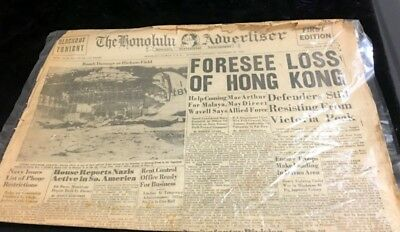 Rare Orig. Honolulu Star-Bulletin  Pearl Harbor Relaled Newspaper Dec 20,1941