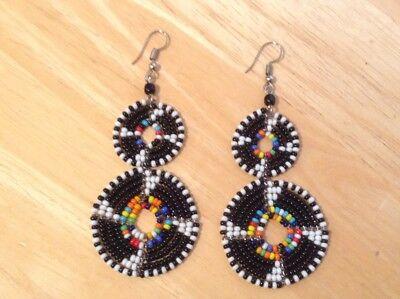 African-Arena Handamde Maasai Masai Beaded Black Mix Colors Dangle Earrings AA18