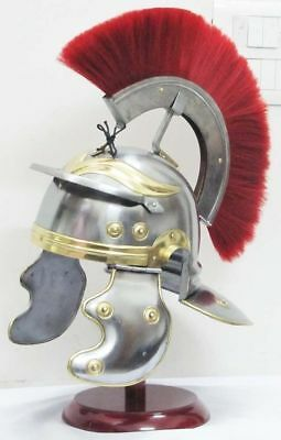 Red Plum Ancient Warriors Helmet Roman Centurion Greek Medieval Armor Guard Hat