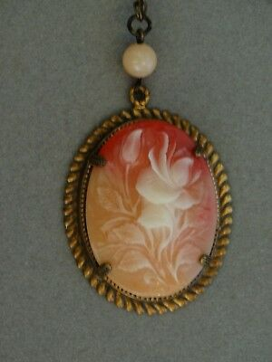 Beautiful Vintage Flower Faux Cameo & Beads Antique bronze tone Necklace