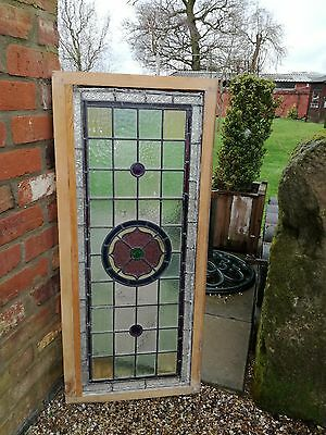Antique 17th century stained glass window with cut glass from Moseley Old Hall