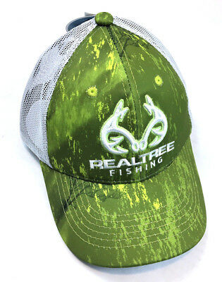 REALTREE FISHING LOGO Mesh Back Patterned Snapback Hat  Cap 8b7cc1abed3