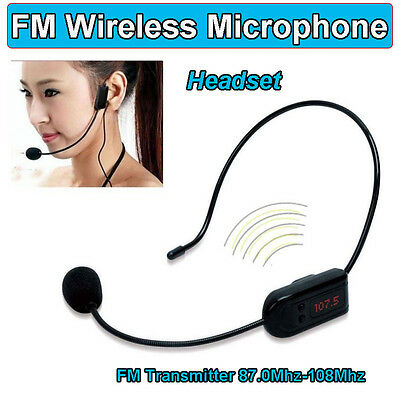 FM 30m Wireless Microphone Headset Transmitter Audio For Teaching Tour Amplifier
