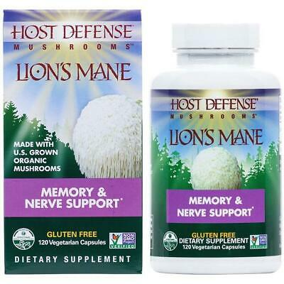 Fungi Perfecti Host Defense Lion's Mane Organic Mushrooms Memory & Nerve 30-120