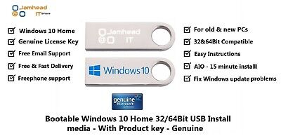 Microsoft Windows 10 Home 32/64Bit Genuine License & USB Boot Installation Drive