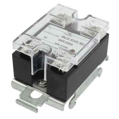 RUIKE DC to AC DIN Rail Mount Covered Solid State Relay SSR-25DA 25A 3-32V DC Y@