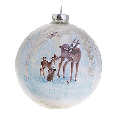 """RAZ Imports Christmas Ornament — Deer and Bunny Rabbit in Woodland Clearing 4.5"""""""