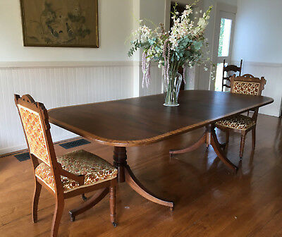 Antique 19th century Regency banded 2-pedestal Dining Table LOCAL PICK UP ONLY