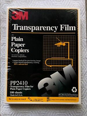TRANSPARENCY FILM SHEETS FOR PLAIN PAPER COPIERS 3M- Box PP2410