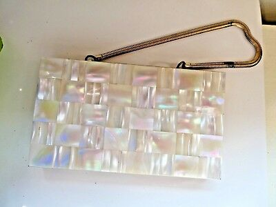 Vintage 1950's Mother of Pearl Brass Compact Purse
