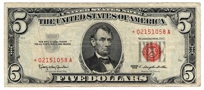 ☆$5 Red Seal STAR NOTE ☆Red Seal Certificate Old Estate Money Lot☆1963☆