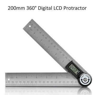 """8"""" 360° Electronic Digital Protractor Stainless Steel Goniometer Angle Finder US"""