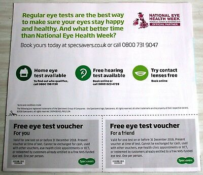 2 Specsavers Eye Test Vouchers Coupon Valid  31 December 2018 authentic genuine