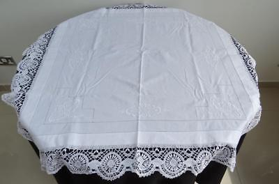 """Vintage 1930's White Crochet Lace & Embroidered Tablecloth - 44"""" x 44"""""""