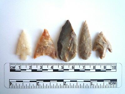 Neolithic Arrowheads x 5, High Quality Selection of Styles - 4000BC - (2402)