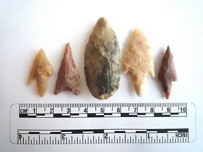 Neolithic Arrowheads x 5, High Quality Selection of Styles - 4000BC - (2412)