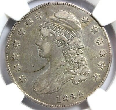 1834 SM DATE, SM LETTERS, 50 CENT, O-115, NGC AU DETAILS, Improperly Cleaned
