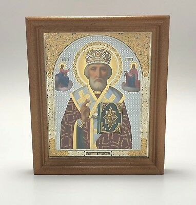 """Saint Nicholas Icon in Wooden Frame Covered with Glass Size 5.1""""x6"""" (13x15.3cm)"""