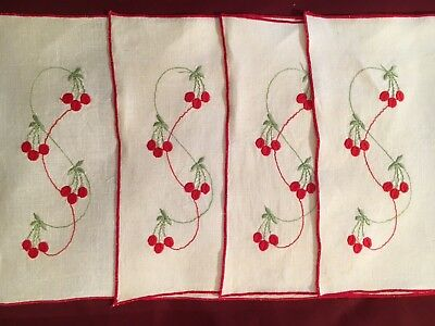 4 Vintage Linen Hand Embroidered Placemats With Cherries