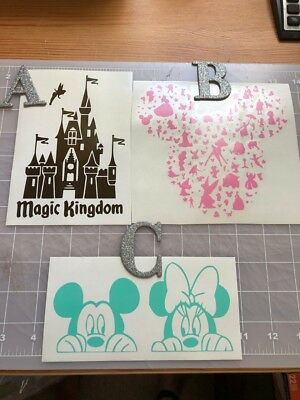 Vinyl Decals DISNEY CASTLE/MINNIE&MICKEY/MICKEY EARS Choose option and color