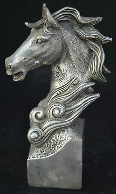 Collectable China Ancient Handwork Tibet Silver Martyr Horse Head Amulet Statue