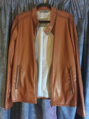 Zara Man Leather Jacket In Tan Colour Size Large Rare !