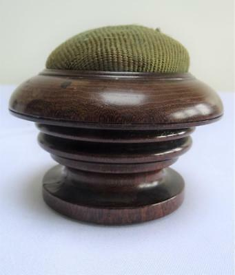 Antique Victorian Large Sewing Pin Cushion - Turned Dark Wood Treen - c1880