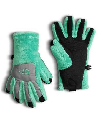 The North Face Girl's Denali Thermal Gloves Green/Black OneSize Fleece Cozy Soft