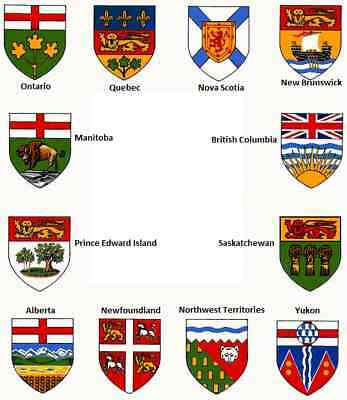 Canadian Provincial Shield Patches Embroidered Sew On or Iron On Applique