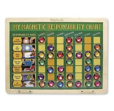 Melissa Amp Doug Personalized Deluxe Wooden Magnetic Responsibility Chart With