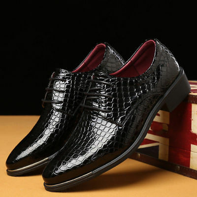 Men's Oxfords Leather Shoes Crocodile Business Formal Dress Casual Point Toe New