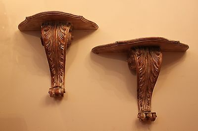 Pair Of Antique French Hand Carved Wood Decorative Wall Brackets