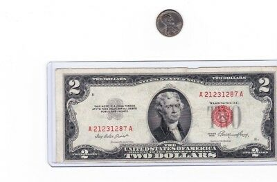 1953 $2 Red Seal Note circulated, Lot of 1 in new holder, comes with steel cent